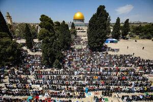 عکس/ هزاران فلسطینی در نماز جمعه مسجد الاقصی