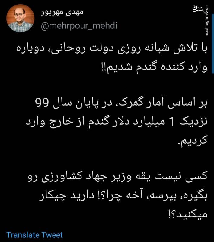 با تلاش دولت روحانی، دوباره وارد کننده گندم شدیم!