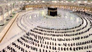 تصویری از برگزاری نماز مغرب در مسجد الحرام