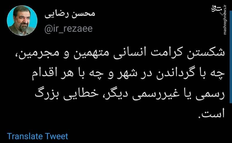 واکنش محسن رضایی به گرداندن مجرمین در شهر