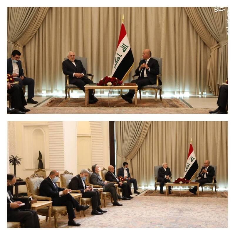 محمد جواد ظریف وزیر امور خارجه کشورمان در ادامه دیدار با مقامات عراقی با برهم صالح رئیس جمهور عراق ملاقات و به رایزنی در موضوعات مورد علاقه دو کشور پرداخت