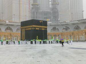 عکس/ بارش تگرگ در مکه