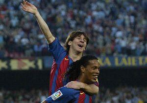 اولین گل مسی برای بارسلونا+فیلم