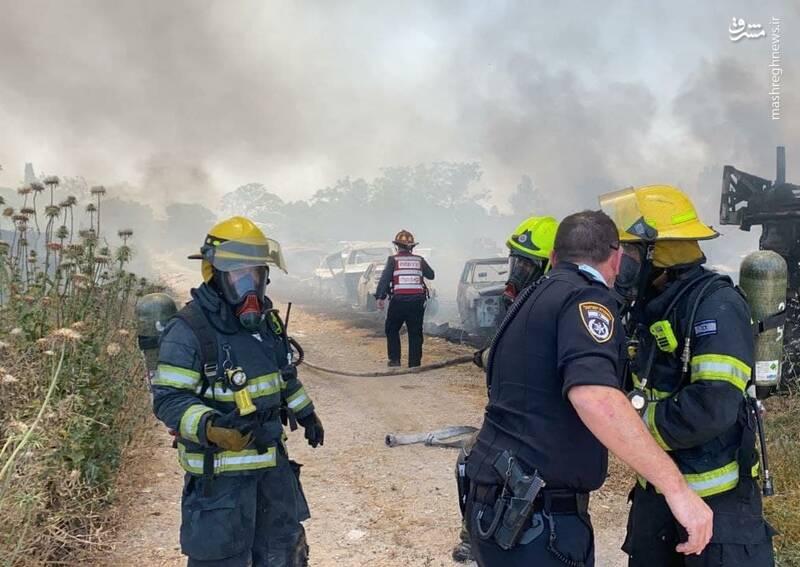 فیلم/ آتشسوزی مهیب در منطقه نظامی حیفا