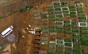 تصویر هوایی از گورستان قربانیان کرونا در اندونزی
