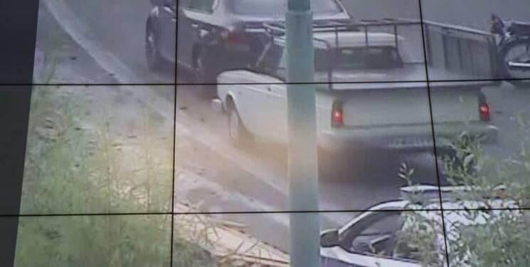 تصادف زنجیرهای در بزرگراه مدرس تهران با ۴ زخمی +عکس