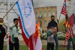 عکس/ به آتش کشیدن پرچم رژیم صهیونیستی در مازندران