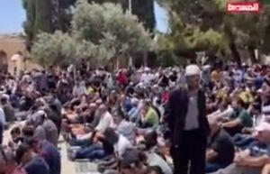 فیلم/ برگزاری نماز جمعه در مسجد الاقصی