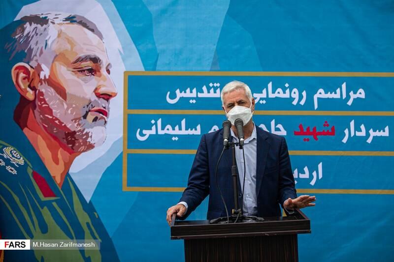 سخنرانی برزین ضرغامی مدیرعامل سازمان زیباسازی شهر تهران در مراسم رونمایی از تندیس سردار شهید قاسم سلیمانی