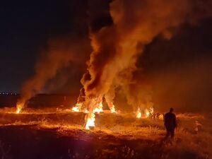 فیلم/ فلسطینیها در مرز غزه آتش به راه انداختند