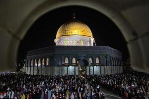عکس/ مسجدالاقصی مملو از فلسطینیها