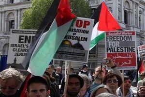 تجمع دهها نفر در لندن برای اعلام همبستگی با ملت فلسطین - کراپشده