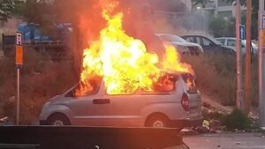 عکس/ مردم فلسطین خوردو صهیونیستها را آتش زدند