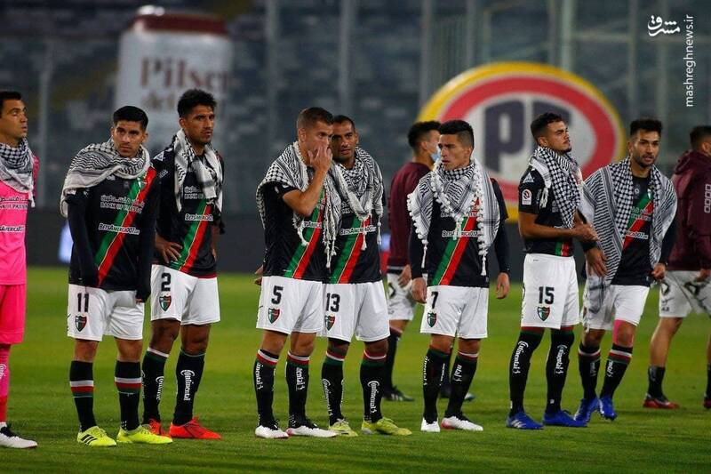 چفیه فلسطینی در تیم فوتبال شیلی+ تصاویر