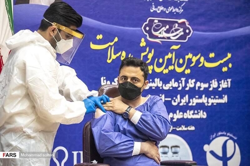 تزریق کارآزمایی بالینی واکسن کرونا ایران و کوبا به رضا دهقان مسوول قرارگاه جهادی امام رضا (ع) مازندران