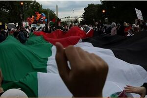 حامیان فلسطین در مقابل کاخ سفید راهپیمایی کردند