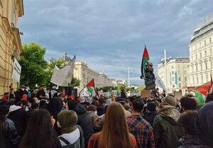 تظاهرات گسترده علیه جنایات رژیم صهیونیستی در پایتخت اتریش+عکس