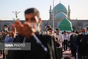 عکس/ اقامه نماز عید فطر در حرم امام رضا(ع)