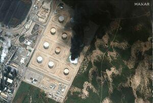تصویر ماهوارهای از حمله موشکی به تاسیسات نفتی عسقلان