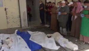 تصاویری دردناک از مراسم خاکسپاری 6 شهید فلسطینی در حملات هوایی رژیم صهیونیستی