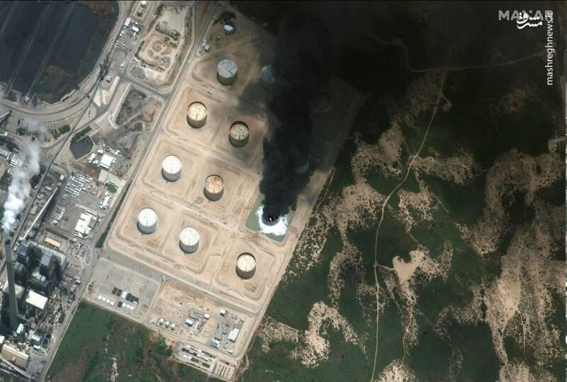 تصاویر ماهواره ای از آثار حملات موشکی مقاومت فلسطین به تاسیسات نفتی عسقلان