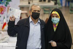 عکس/ مسعود پزشکیان و دخترش در ستاد انتخابات
