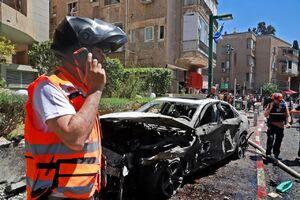 تصاویری از محل اصابت راکت های حماس در رمت گن
