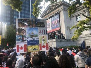 تصویر حاج قاسم در راهپیمایی مردم کانادا در حمایت از فلسطین