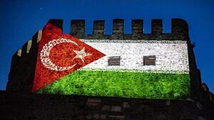 عکس/ نمایش پرچم ترکیبی ترکیه، ایران و فلسطین در آنکارا