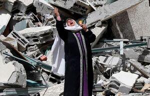 عکس/ آه مادر فلسطینی مقابل ویرانههای خانهاش