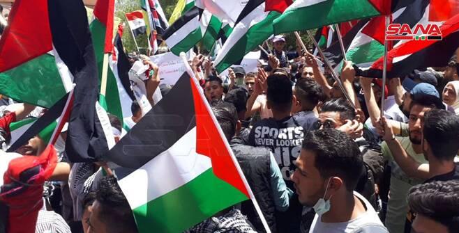 تجمع مردمی در دمشق برای حمایت از ملت فلسطین +عکس