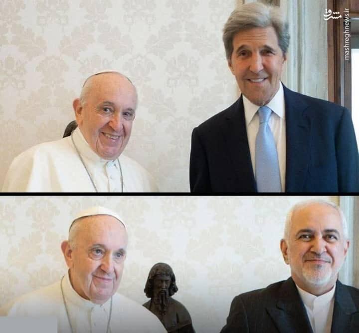 همزمانی عجیب دیدار ظریف و کری با پاپ!