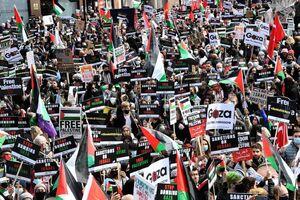 تظاهرات گسترده همبستگی با ملت فلسطین در لندن