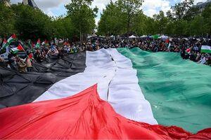 عکس/ تجمع حمایت از فلسطین در هوای بارانی