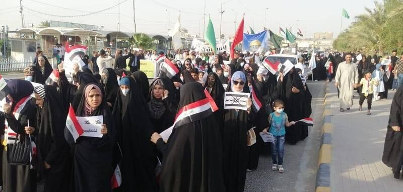 تظاهرات پرشور مردم عراق در حمایت از مردم فلسطین+عکس