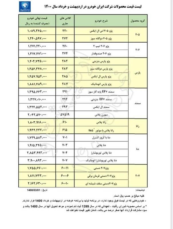 قیمت جدید ۲۱ محصول ایران خودرو +جدول