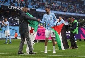 ستاره سیتی با پرچم فلسطین در جشن قهرمانی +عکس