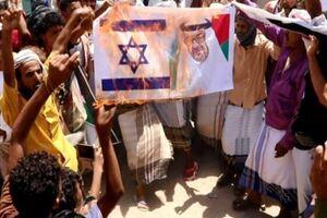 تصاویربن زاید در تظاهرات همبستگی با فلسطین در ابین یمن آتش زده شد - کراپشده