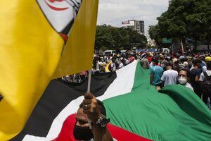 عکس/ تظاهرات گسترده مردم ونزوئلا در حمایت از قدس