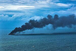 عکس/ آتش سوزی کشتی حامل کانتینر در سریلانکا