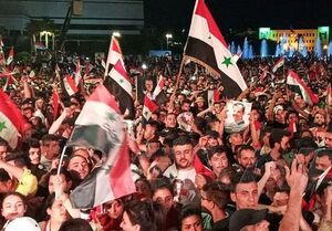 جشن و پایکوبی مردم سوریه پس از پیروزی بشاراسد در انتخابات ریاست جمهوری +عکس