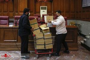 عکس/ حجم پرونده حسن رعیت در دادگاه