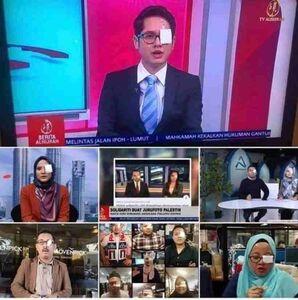 عکس/ همبستگی جالب مجریان تلویزیون با خبرنگار فلسطینی