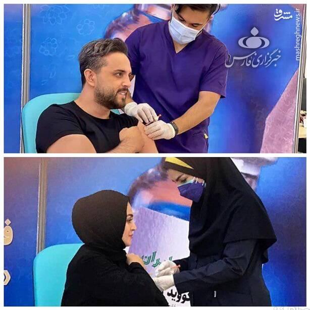 «پدرام کریمی»، مجری تلویزیون هم از دیگر چهرههای رسانهای بود که به همراه همسرش داوطلب تزریق واکسن کووایران برکت شد