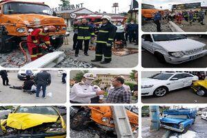 انحراف کامیون و برخورد با ۸ خودرو در رشت