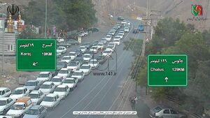 حجم بالای خودروها در مبادی ورودی به تهران +عکس