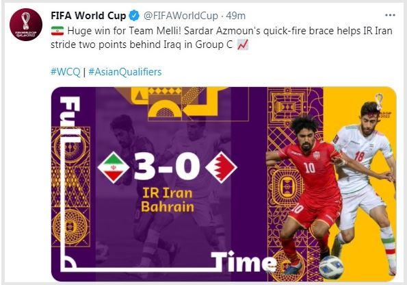واکنش فیفا به پیروزی تاریخی تیم ملی فوتبال ایران