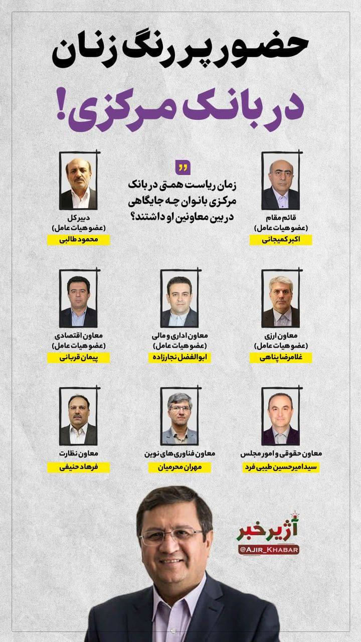 اینفوگرافیک/ جایگاه رفیع زنان در دوره ریاست همتی در بانک مرکزی