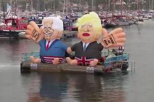 فیلم/ آدمکهای بادی بایدن و جانسون در آبهای انگلیس