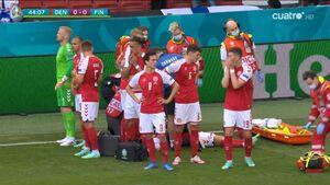 بهت و گریه بازیکنان از بیهوشی ستاره دانمارکی+عکس و فیلم